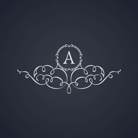Vintage luxury emblem. Elegant Calligraphic pattern on vector logo. Black and white monogram A