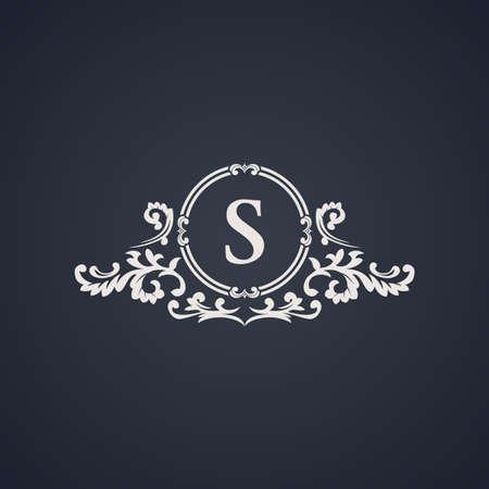 ヴィンテージ高級エンブレム。エレガントなカリグラフィ パターン ベクトルのロゴ。黒と白のモノグラム S