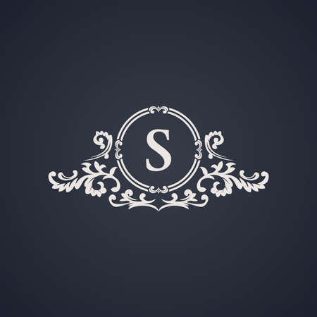 Vintage luxury emblem. Elegant Calligraphic pattern on vector logo. Black and white monogram S Çizim