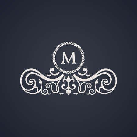 Vintage luxury emblem. Elegant Calligraphic pattern on vector logo. Black and white monogram M Illustration
