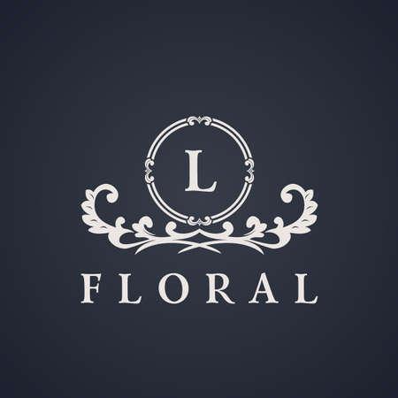 Vintage luxury emblem. Elegant Calligraphic pattern on vector logo. Black and white monogram L