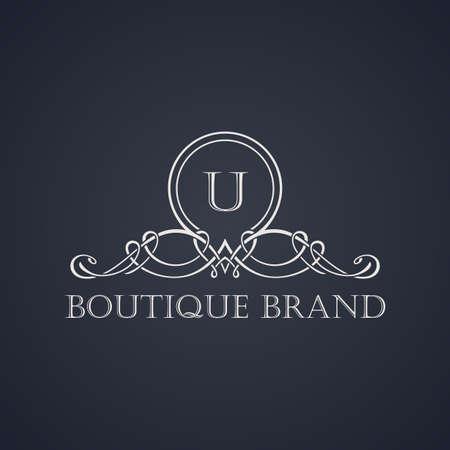 Vintage luxury emblem. Elegant Calligraphic pattern on vector logo. Black and white monogram U