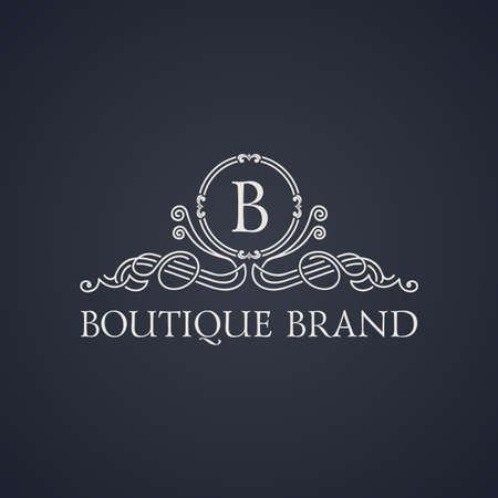 boutique: Vintage luxury emblem. Elegant Calligraphic pattern on vector logo. Black and white monogram B