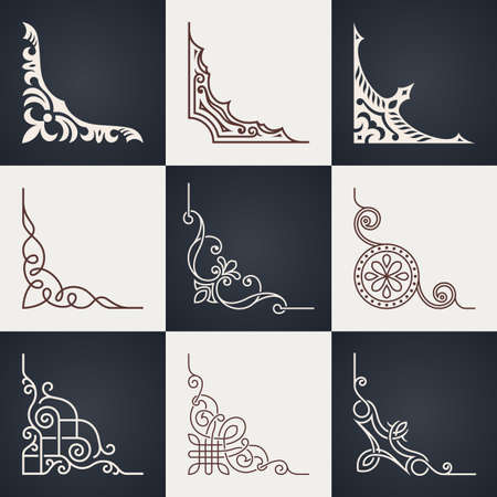 book design: Calligraphic design elements. Vintage corners set. Lines style Illustration