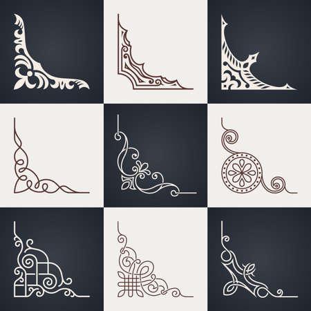 Elementy projektu kaligraficzne. Vintage zestaw rogi. Linie stylu Ilustracje wektorowe