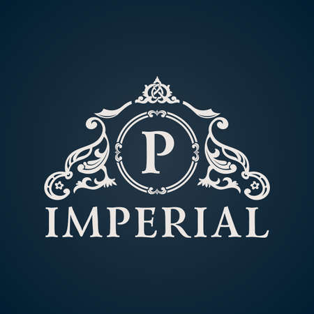 Calligraphic Vintage emblem. Imperial art ornate decor elements. Vector symbol ornament