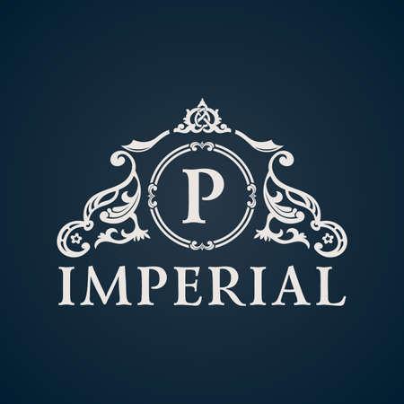 Calligraphic Vintage emblem. Imperial art ornate decor elements. Vector symbol ornament