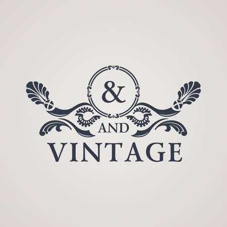 Calligraphic Vintage emblem. Floral art ornate decor elements. Vector symbol ornament