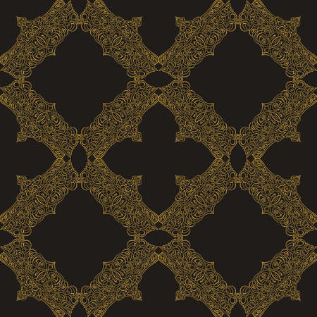 arabesque pattern: Seamless background in Arabic style. Gold, black, blue wallpaper with patterns for design. Traditional oriental decor