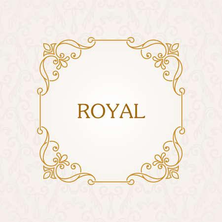 Calligraphic frame. Vector vintage elegant text border and decor background Illustration