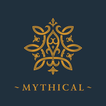 Calligraphic luxury symbol. Emblem ornate decor elements. Vintage vector ornament 일러스트
