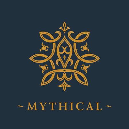Calligraphic luxury symbol. Emblem ornate decor elements. Vintage vector ornament Vettoriali