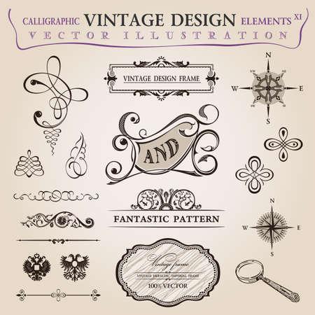 葡萄收穫期: 書法舊元素復古的裝飾。矢量幀裝飾 向量圖像