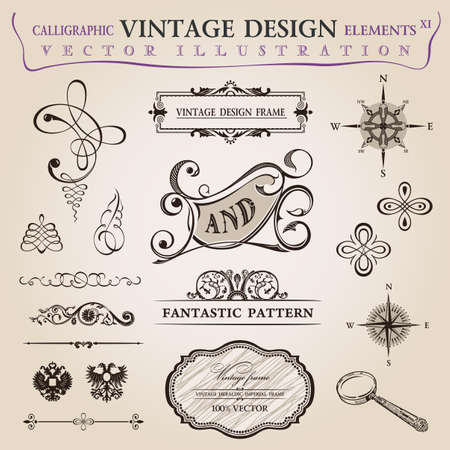 vintage postcard: Calligraphic old elements vintage decor. Vector frame ornament