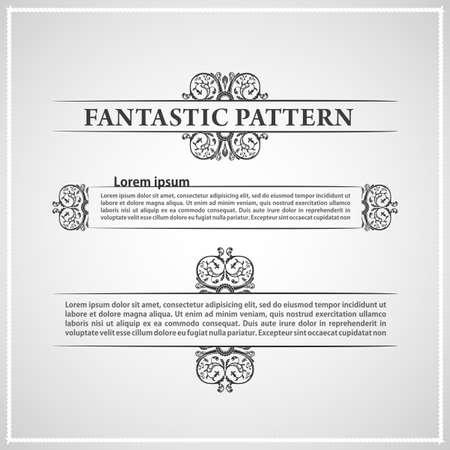 vintage border: calligraphic elements vintage ornament text. Vector illustration