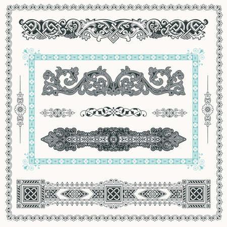 vintage border: Baroque Set of vintage decor elements.