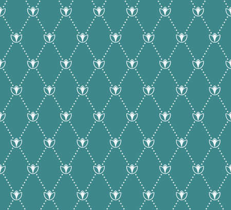 normal: Vector seamless pattern. Modern stylish texture. Geometric tiles with dotted rhombus in vintage floral style Illustration
