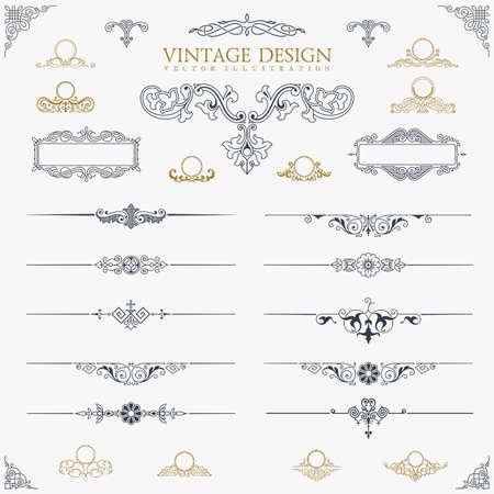 scroll shape: Baroque Set of vintage decor elements.