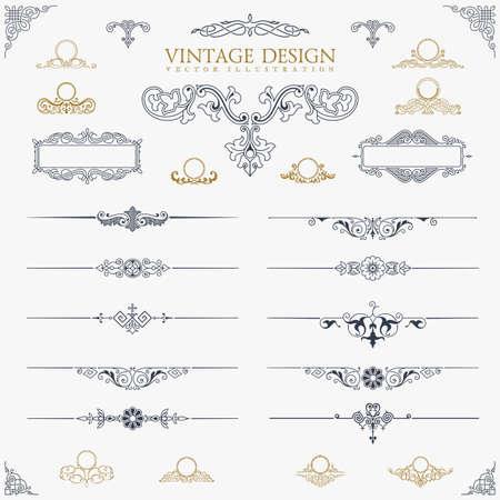 Baroque Set von Vintage-Dekor-Elemente. Standard-Bild - 47050196