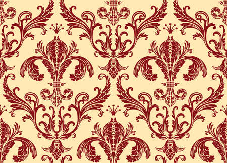 seamless damask: Background antique seamless wallpaper. Red decor vintage Illustration