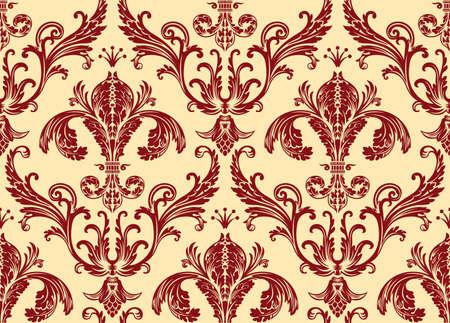 Background antique seamless wallpaper. Red decor vintage Illustration