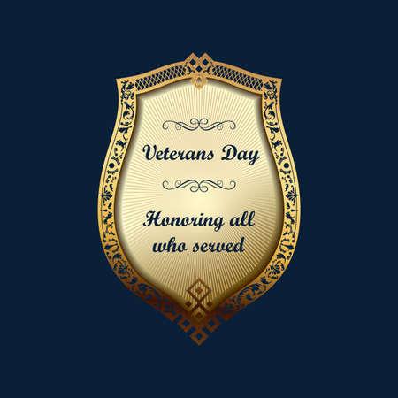 Veterans Day emblem. American shield vector background Illustration