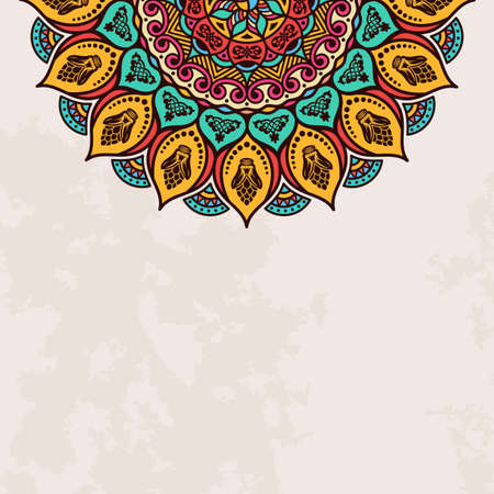Elegant background with lace ornament and place for text. Floral elements, ornate background, mandala. Vector illustration Illustration