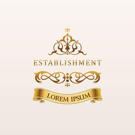 a luxury: Vintage luxury gold emblem. Elegant Calligraphic decor on vector logo with ribbon Illustration