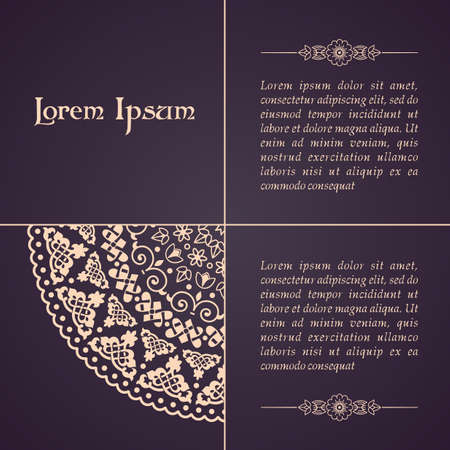 invitation: Elegant background with lace ornament and place for text. Floral elements, ornate background, mandala. Illustration