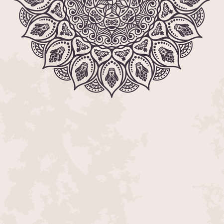ornate background: Elegant background with lace ornament and place for text. Floral elements, ornate background, mandala. Illustration