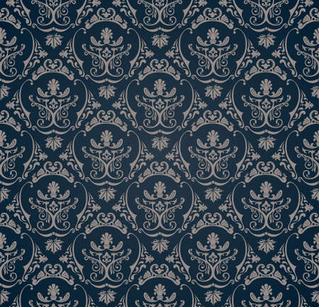 seamless pattern with art ornament. Vintage elements for design in Victorian style. Ornamental lace tracery background. Ornate floral decor for wallpaper.  Illustration