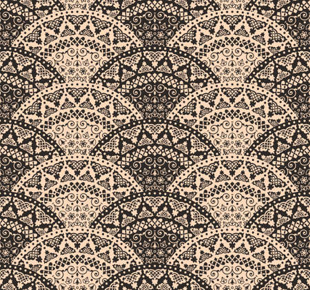 tail: abstract seamless geometric background from beige and black fan shaped ornate elements with ethnic patterns. Style mandala pattern in vintage design