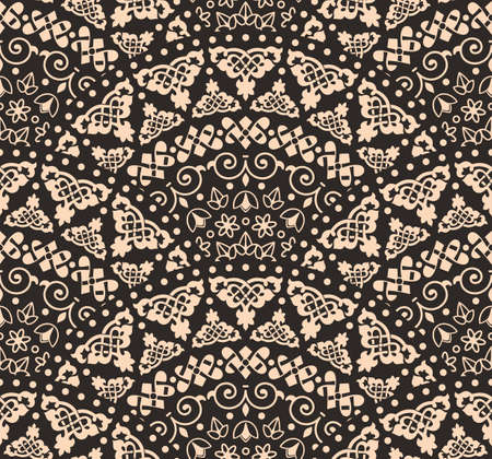 pattern antique: abstract seamless geometric background from beige and black fan shaped ornate elements with ethnic patterns. Style mandala pattern in vintage design
