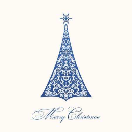 fur tree ornament: Christmas tree. Blue vintage illustration design
