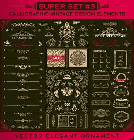 Calligraphic Design vintage elements.