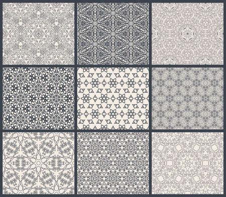tile pattern: Vintage seamless background set in eastern style. Illustration