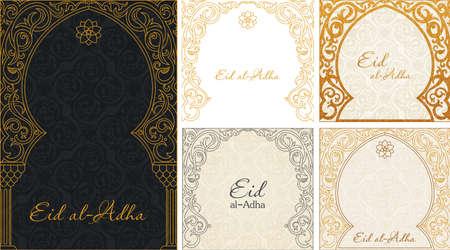 greeting gold backgrounds set.  Illustration