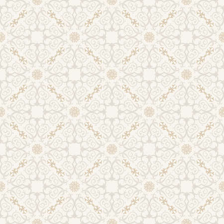 white wallpaper: Seamless background in Arabic style. Gold and white  wallpaper with patterns for design. Traditional oriental decor