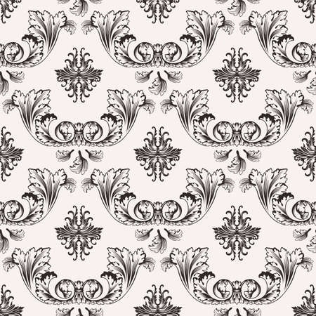 tracery: Vector seamless pattern with art ornament. Vintage elements for design in Victorian style. Ornamental lace tracery background. Ornate floral decor for wallpaper. Endless texture Illustration