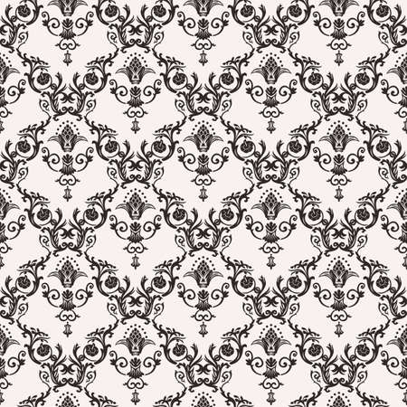 Vector seamless pattern with art ornament. Vintage elements for design in Victorian style. Ornamental lace tracery background. Ornate floral decor for wallpaper. Endless texture Illustration