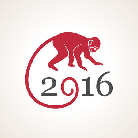 Vector illustration of monkey. Symbol of 2016 on the Chinese calendar. Silhouette of monkey, decorated patterns. Vector element for New Year design. Illustration of 2016 year of Red Monkey