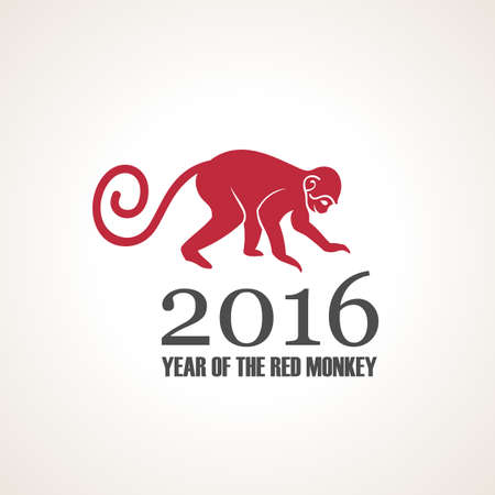 japanese script: Vector illustration of monkey. Symbol of 2016 on the Chinese calendar. Silhouette of monkey, decorated patterns. Vector element for New Year design. Illustration of 2016 year of Red Monkey