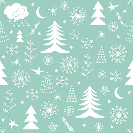 Seamless Christmas pattern. Green winter background for Christmas and New Design