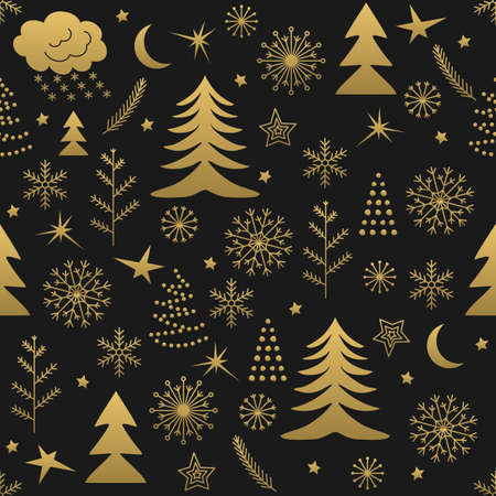 Seamless Christmas pattern. Golden winter background for Christmas and New Design