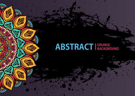 model motive: Mandala. Round Ornament Pattern. Vintage decorative elements. Hand drawn grunge background. Arabic Indian ottoman motifs