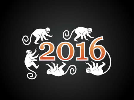 chinese new year element: Vector illustration of monkey. Symbol of 2016 on the Chinese calendar. Silhouette of monkey, decorated patterns. Vector element for New Year design. Illustration of 2016 year of Red Monkey