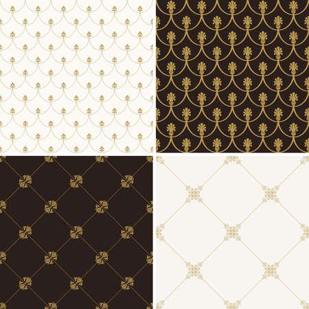 Nahtlose Jahrgang Blumen Hintergrund. Vector Royal Gold und schwarzes Muster. Oriental Design und barocken Tapeten Set Standard-Bild - 51000072