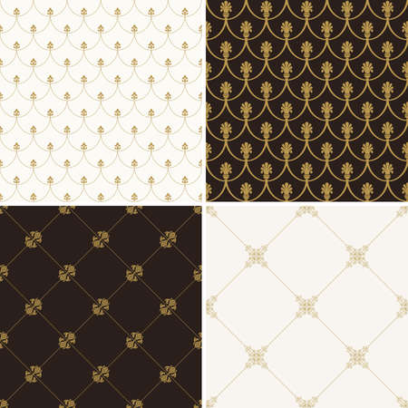 wallpaper floral: Seamless vintage floral background. Vector royal gold and black pattern. Oriental design and baroque wallpaper set Illustration