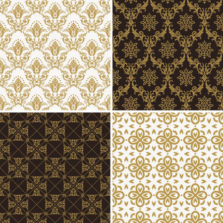baroque wallpaper: Seamless vintage floral background. Vector royal gold and black pattern. Oriental design and baroque wallpaper set Illustration