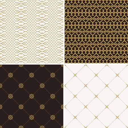 Seamless vintage floral background. Vector royal gold and black pattern. Oriental design and baroque wallpaper set 向量圖像